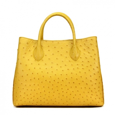 Ostrich Leather Tote Bag Top Handle Shoulder Bag-Yellow