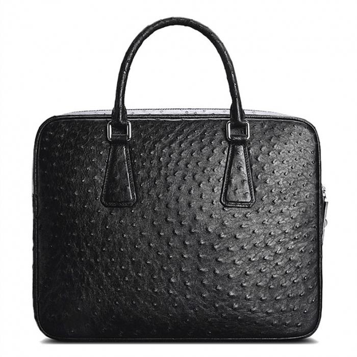 Slim Ostrich Business Bag Designer Ostrich Briefcase for Men-Black