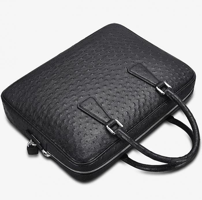 Slim Ostrich Business Bag Designer Ostrich Briefcase for Men-Details