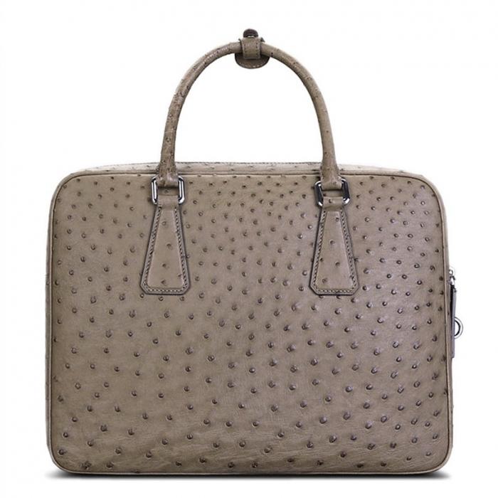 Slim Ostrich Business Bag Designer Ostrich Briefcase for Men-Gray