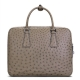 Slim Ostrich Business Bag Designer Ostrich Briefcase for Men-Gray