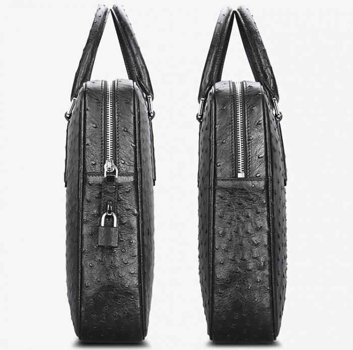 Slim Ostrich Business Bag Designer Ostrich Briefcase for Men-Side