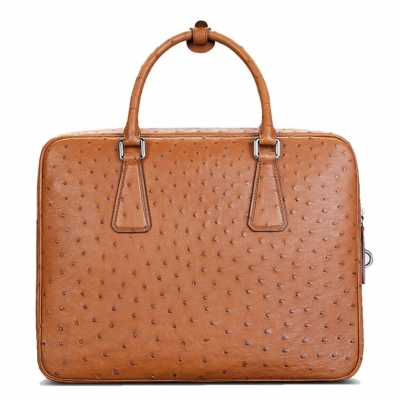 Slim Ostrich Business Bag Designer Ostrich Briefcase for Men-Tan