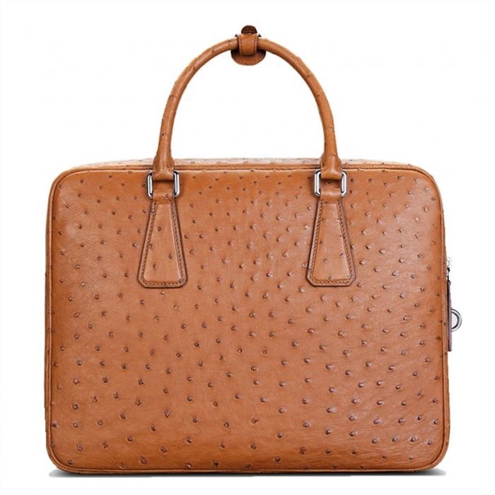 Slim Ostrich Business Bag Designer Ostrich Briefcase for Men-Tan