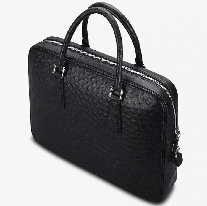 Slim Ostrich Business Bag Designer Ostrich Briefcase for Men-Top