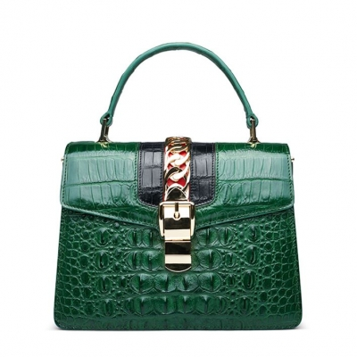 Style Crocodile Handbag Shoulder Bag Crossbody Bag for Lady-Green