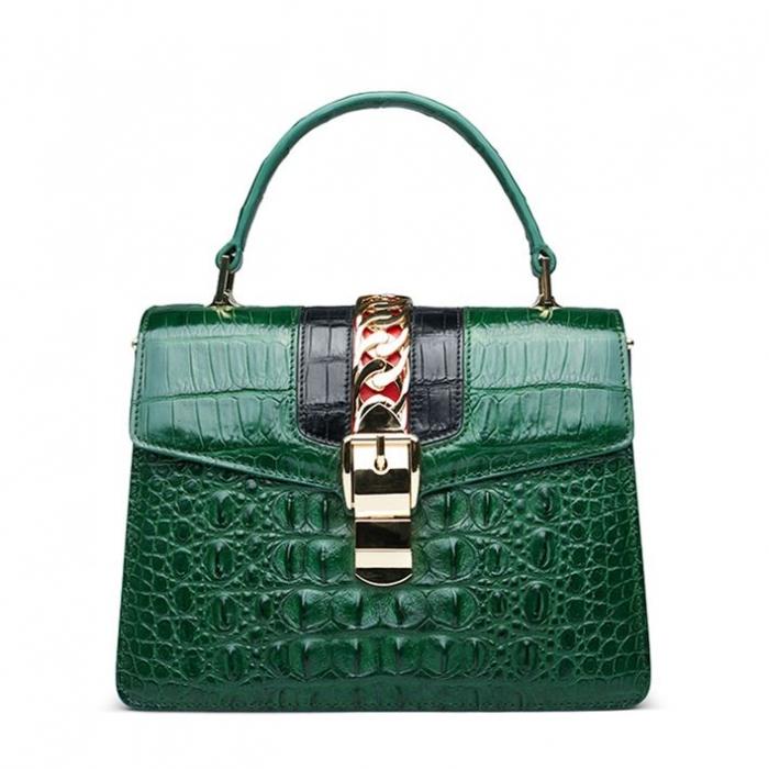 Style Crocodile Handbag Shoulder Bag Crossbody Bag for Lady-Green