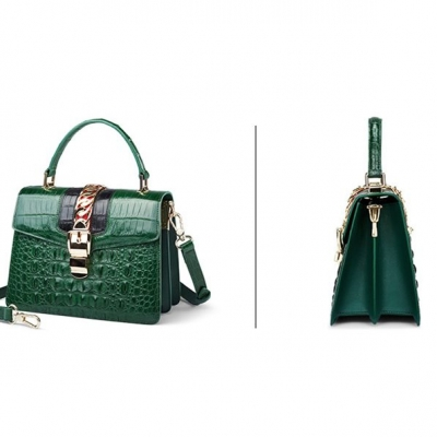 Style Crocodile Handbag Shoulder Bag Crossbody Bag for Lady-Green-Details
