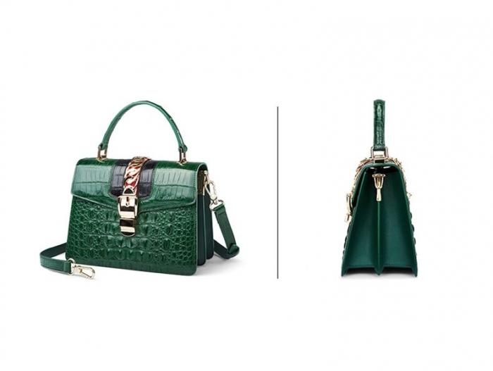 Style Crocodile Handbag Shoulder Bag Crossbody Bag for Lady-Green-Details
