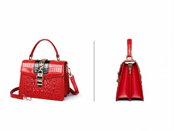 Style Crocodile Handbag Shoulder Bag Crossbody Bag for Lady-Red-Details