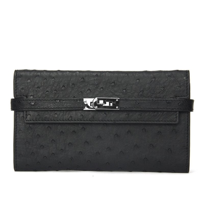 Stylish Evening Ostrich Leather Clutch Wallet Ladies Purse-Black