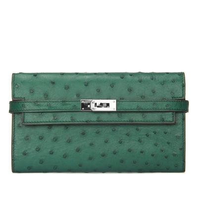 Stylish Evening Ostrich Leather Clutch Wallet Ladies Purse-Green