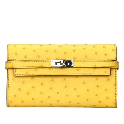 Stylish Evening Ostrich Leather Clutch Wallet Ladies Purse-Yellow