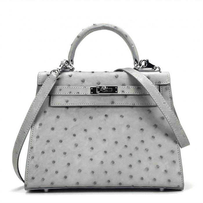 Women's Ostrich Handbags Top Handle Padlock Bags