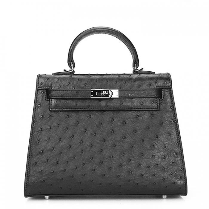 Women's Ostrich Handbags Top Handle Padlock Bags-Black