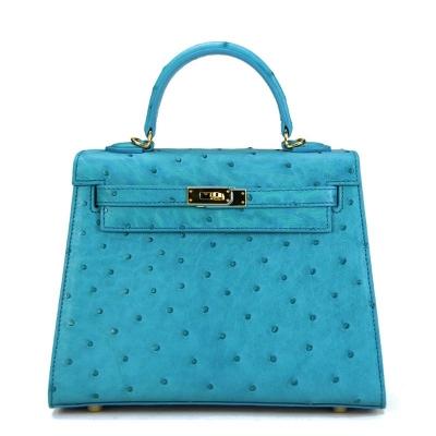 Women's Ostrich Handbags Top Handle Padlock Bags-Blue
