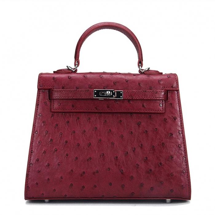 Women's Ostrich Handbags Top Handle Padlock Bags-Claret