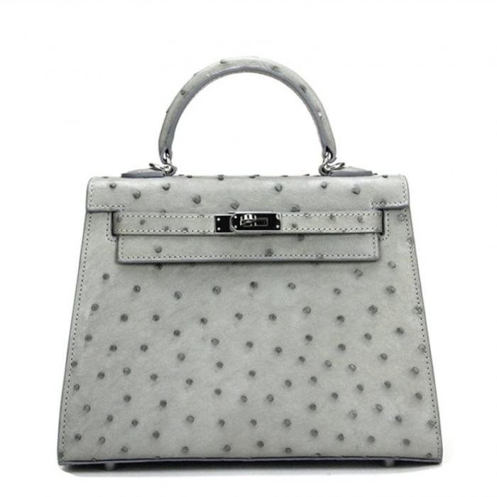 Women's Ostrich Handbags Top Handle Padlock Bags-Gray