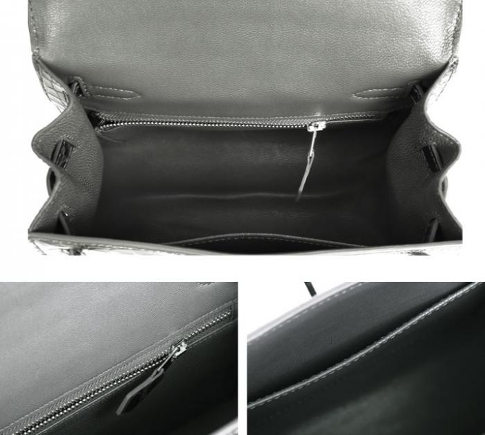 Women's Ostrich Handbags Top Handle Padlock Bags-Gray-Inside