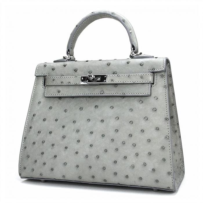 Women's Ostrich Handbags Top Handle Padlock Bags-Gray-Micro Side