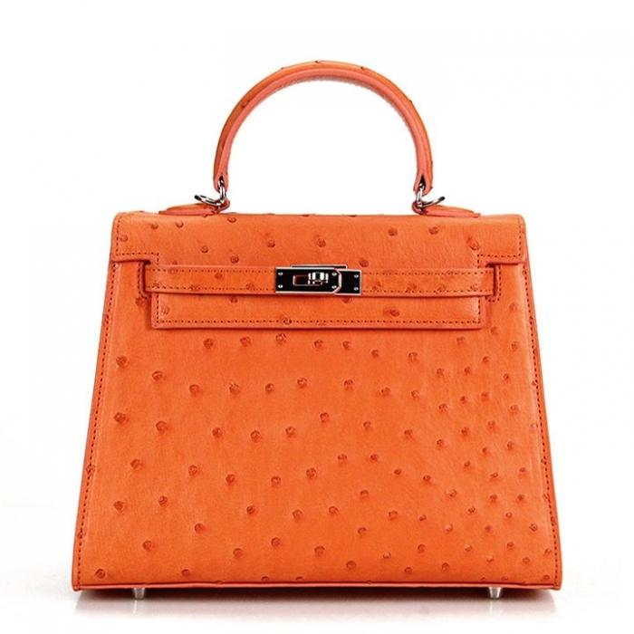 Women's Ostrich Handbags Top Handle Padlock Bags-Orange