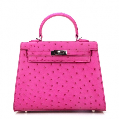 Women's Ostrich Handbags Top Handle Padlock Bags-Pink