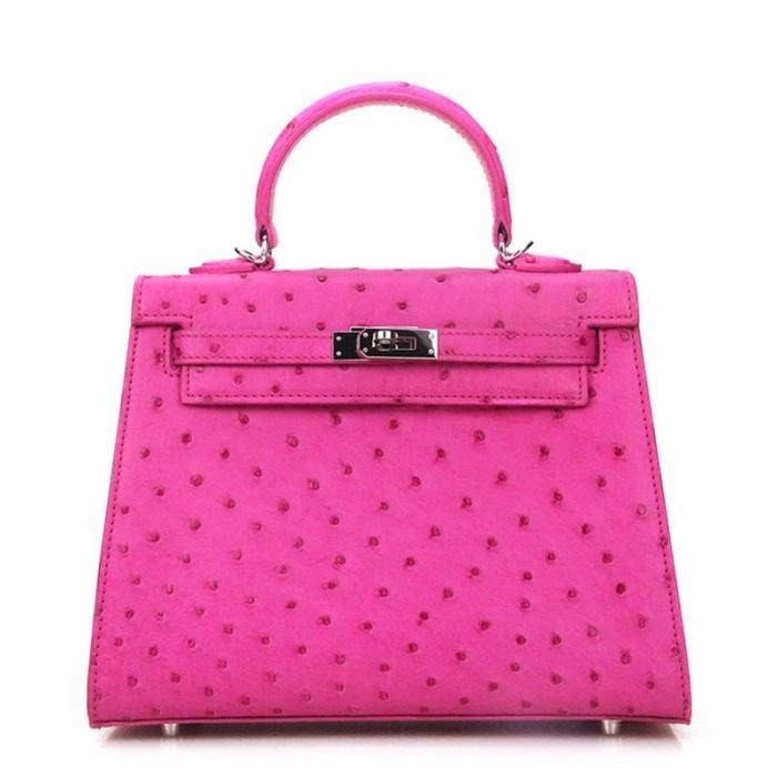 Women's Ostrich Handbags Top Handle Padlock Bags-Pink