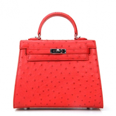 Women's Ostrich Handbags Top Handle Padlock Bags-Red