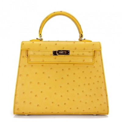 Women's Ostrich Handbags Top Handle Padlock Bags-Yellow