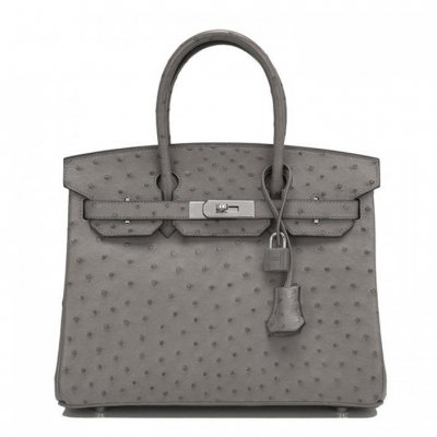 Women's Padlock Ostrich Handbag Top Handle Bag-Gray