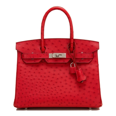 Women's Padlock Ostrich Handbag Top Handle Bag-Handbags-Red