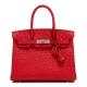 Women's Padlock Ostrich Handbag Top Handle Bag-Handbags-Red