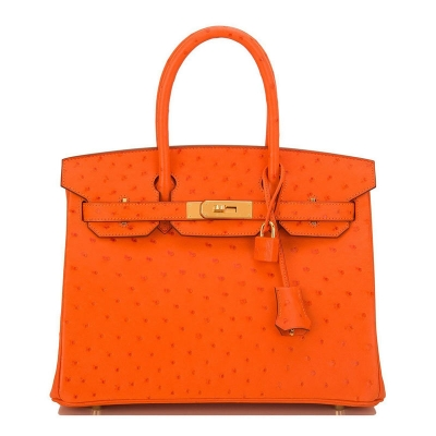 Women's Padlock Ostrich Handbag Top Handle Bag-Orange
