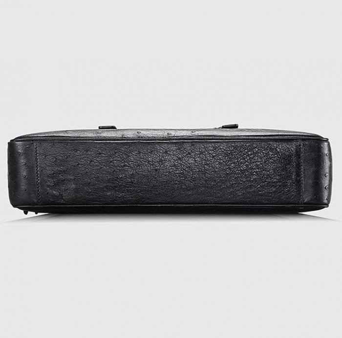 Designer Ostrich Leather Business Work Briefcase Laptop Bag-Black-Bottom