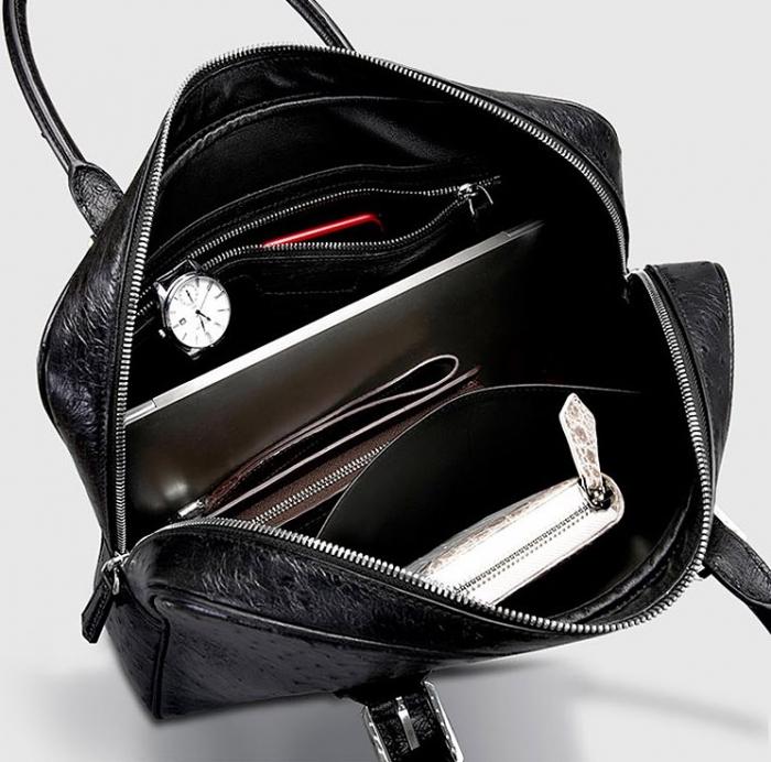 Designer Ostrich Leather Business Work Briefcase Laptop Bag-Black-Inside