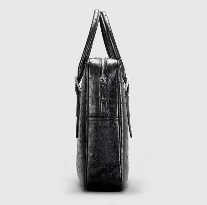 Designer Ostrich Leather Business Work Briefcase Laptop Bag-Black-Side