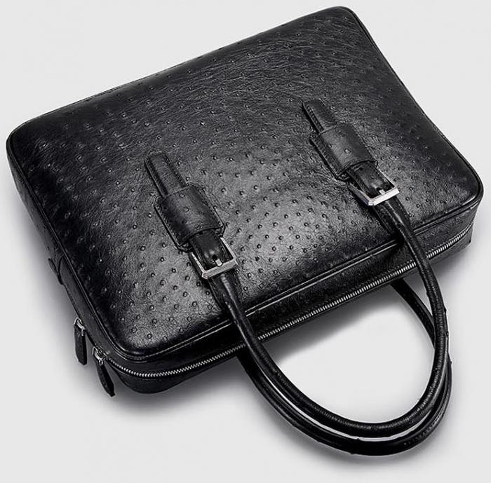 Designer Ostrich Leather Business Work Briefcase Laptop Bag-Details