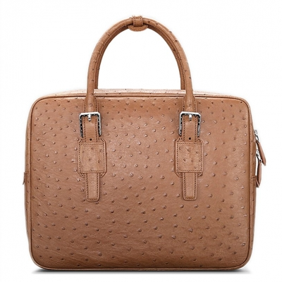 Designer Ostrich Leather Business Work Briefcase Laptop Bag-Tan