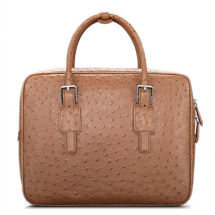 Designer Ostrich Leather Business Work Briefcase Laptop Bag-Tan