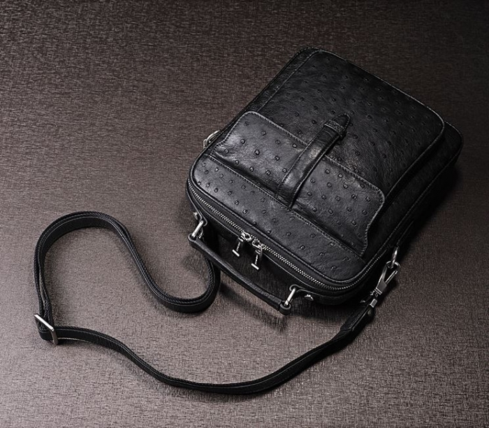 Mens Ostrich Leather Flapover Briefcase Messenger Bag