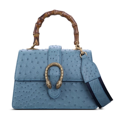 Ostrich Crossbody Bag Ostrich Handbag with Bamboo Handle