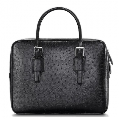 Ostrich Leather Business Work Briefcase Laptop Bag-Black