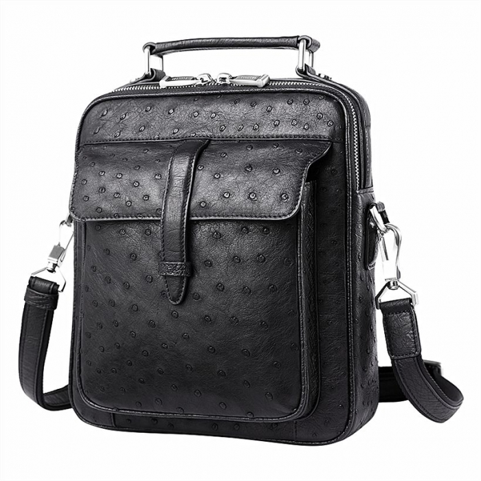 Ostrich Leather Flapover Briefcase Messenger Bag