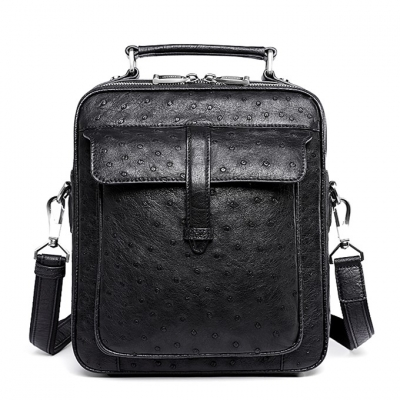 Ostrich Leather Flapover Briefcase Messenger Bag-Black