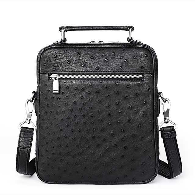 Ostrich Leather Flapover Briefcase Messenger Bag-Black-Back