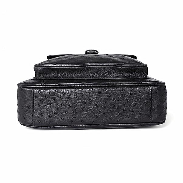 Ostrich Leather Flapover Briefcase Messenger Bag-Black-Bottom