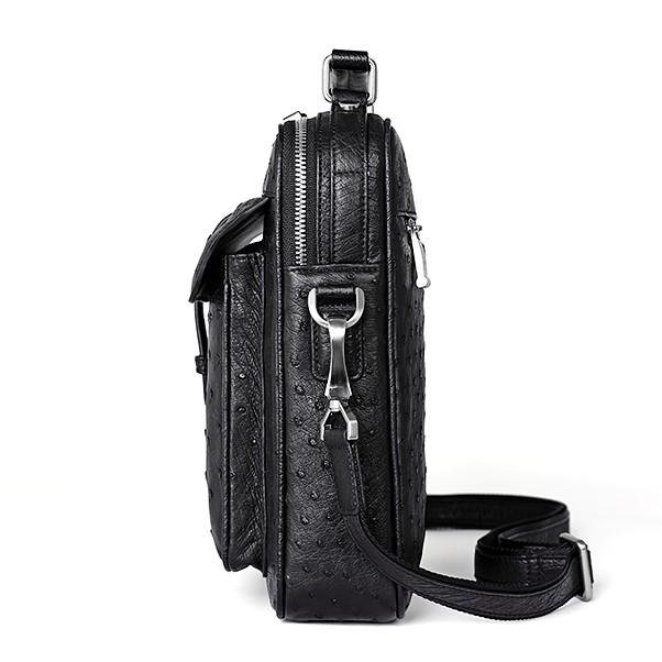 Ostrich Leather Flapover Briefcase Messenger Bag-Black-Side