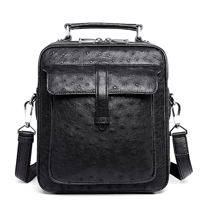 Ostrich Leather Flapover Briefcase Messenger Bag-Black