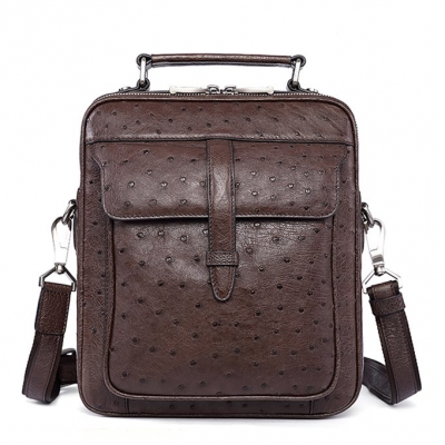 Ostrich Leather Flapover Briefcase Messenger Bag-Brown