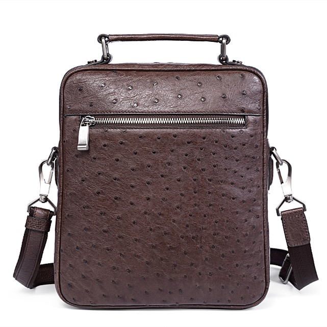Ostrich Leather Flapover Briefcase Messenger Bag-Brown-Back